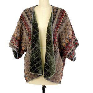 Anthro Bl-nk Open Kimono Jacket Inner Faux Fur